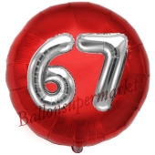Runder Luftballon Jumbo Zahl 67, rot-silber mit 3D-Effekt zum 67. Geburtstag