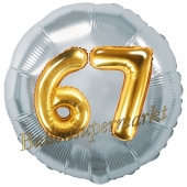 Runder Luftballon Jumbo Zahl 67, silber-gold mit 3D-Effekt zum 67. Geburtstag