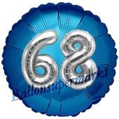 Runder Luftballon Jumbo Zahl 68, blau-silber mit 3D-Effekt zum 68. Geburtstag