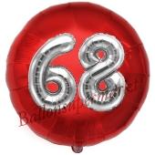 Runder Luftballon Jumbo Zahl 68, rot-silber mit 3D-Effekt zum 68. Geburtstag