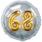 Runder Luftballon Jumbo Zahl 68, silber-gold mit 3D-Effekt zum 68. Geburtstag