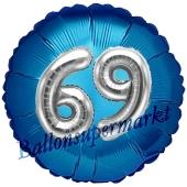 Runder Luftballon Jumbo Zahl 69, blau-silber mit 3D-Effekt zum 69. Geburtstag