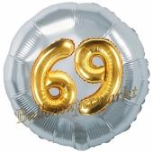 Runder Luftballon Jumbo Zahl 69, silber-gold mit 3D-Effekt zum 69. Geburtstag