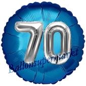 Runder Luftballon Jumbo Zahl 70, blau-silber mit 3D-Effekt zum 70. Geburtstag