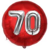 Runder Luftballon Jumbo Zahl 70, rot-silber mit 3D-Effekt zum 70. Geburtstag
