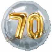 Runder Luftballon Jumbo Zahl 70, silber-gold mit 3D-Effekt zum 70. Geburtstag