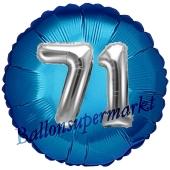 Runder Luftballon Jumbo Zahl 71, blau-silber mit 3D-Effekt zum 71. Geburtstag