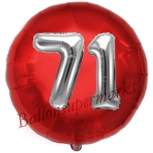 Runder Luftballon Jumbo Zahl 71, rot-silber mit 3D-Effekt zum 71. Geburtstag