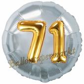 Runder Luftballon Jumbo Zahl 71, silber-gold mit 3D-Effekt zum 71. Geburtstag