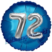 Runder Luftballon Jumbo Zahl 72, blau-silber mit 3D-Effekt zum 72. Geburtstag