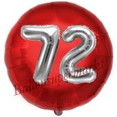 Runder Luftballon Jumbo Zahl 72, rot-silber mit 3D-Effekt zum 72. Geburtstag