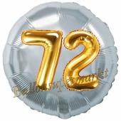 Runder Luftballon Jumbo Zahl 72, silber-gold mit 3D-Effekt zum 72. Geburtstag