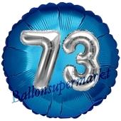 Runder Luftballon Jumbo Zahl 73, blau-silber mit 3D-Effekt zum 73. Geburtstag