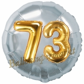 Runder Luftballon Jumbo Zahl 73, silber-gold mit 3D-Effekt zum 73. Geburtstag
