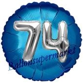Runder Luftballon Jumbo Zahl 74, blau-silber mit 3D-Effekt zum 74. Geburtstag