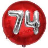 Runder Luftballon Jumbo Zahl 74, rot-silber mit 3D-Effekt zum 74. Geburtstag