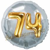 Runder Luftballon Jumbo Zahl 74, silber-gold mit 3D-Effekt zum 74. Geburtstag