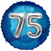 Runder Luftballon Jumbo Zahl 75, blau-silber mit 3D-Effekt zum 75. Geburtstag