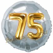 Runder Luftballon Jumbo Zahl 75, silber-gold mit 3D-Effekt zum 75. Geburtstag