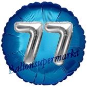 Runder Luftballon Jumbo Zahl 77, blau-silber mit 3D-Effekt zum 77. Geburtstag