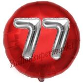Runder Luftballon Jumbo Zahl 77, rot-silber mit 3D-Effekt zum 77. Geburtstag