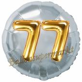 Runder Luftballon Jumbo Zahl 77, silber-gold mit 3D-Effekt zum 77. Geburtstag
