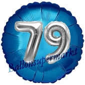 Runder Luftballon Jumbo Zahl 79, blau-silber mit 3D-Effekt zum 79. Geburtstag