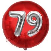 Runder Luftballon Jumbo Zahl 79, rot-silber mit 3D-Effekt zum 79. Geburtstag