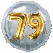 Runder Luftballon Jumbo Zahl 79, silber-gold mit 3D-Effekt zum 79. Geburtstag