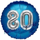 Runder Luftballon Jumbo Zahl 80, blau-silber mit 3D-Effekt zum 80. Geburtstag