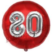 Runder Luftballon Jumbo Zahl 80, rot-silber mit 3D-Effekt zum 80. Geburtstag