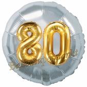 Runder Luftballon Jumbo Zahl 80, silber-gold mit 3D-Effekt zum 80. Geburtstag
