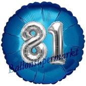 Runder Luftballon Jumbo Zahl 81, blau-silber mit 3D-Effekt zum 81. Geburtstag