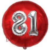 Runder Luftballon Jumbo Zahl 81, rot-silber mit 3D-Effekt zum 81. Geburtstag