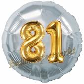 Runder Luftballon Jumbo Zahl 81, silber-gold mit 3D-Effekt zum 81. Geburtstag