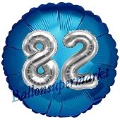 Runder Luftballon Jumbo Zahl 82, blau-silber mit 3D-Effekt zum 82. Geburtstag