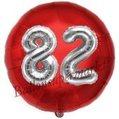 Runder Luftballon Jumbo Zahl 82, rot-silber mit 3D-Effekt zum 82. Geburtstag