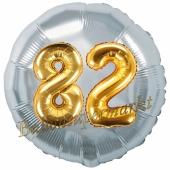 Runder Luftballon Jumbo Zahl 82, silber-gold mit 3D-Effekt zum 82. Geburtstag