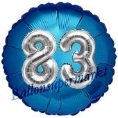 Runder Luftballon Jumbo Zahl 83, blau-silber mit 3D-Effekt zum 83. Geburtstag