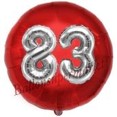 Runder Luftballon Jumbo Zahl 83, rot-silber mit 3D-Effekt zum 83. Geburtstag