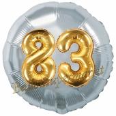 Runder Luftballon Jumbo Zahl 83, silber-gold mit 3D-Effekt zum 83. Geburtstag