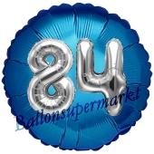 Runder Luftballon Jumbo Zahl 84, blau-silber mit 3D-Effekt zum 84. Geburtstag
