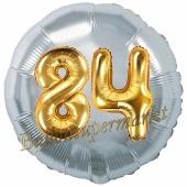 Runder Luftballon Jumbo Zahl 84, silber-gold mit 3D-Effekt zum 84. Geburtstag