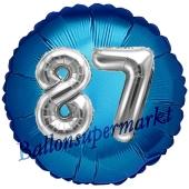 Runder Luftballon Jumbo Zahl 87, blau-silber mit 3D-Effekt zum 87. Geburtstag