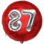 Runder Luftballon Jumbo Zahl 87, rot-silber mit 3D-Effekt zum 87. Geburtstag