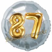 Runder Luftballon Jumbo Zahl 87, silber-gold mit 3D-Effekt zum 87. Geburtstag