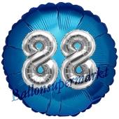 Runder Luftballon Jumbo Zahl 88, blau-silber mit 3D-Effekt zum 88. Geburtstag
