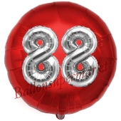 Runder Luftballon Jumbo Zahl 88, rot-silber mit 3D-Effekt zum 88. Geburtstag