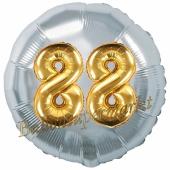 Runder Luftballon Jumbo Zahl 88, silber-gold mit 3D-Effekt zum 88. Geburtstag