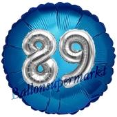 Runder Luftballon Jumbo Zahl 89, blau-silber mit 3D-Effekt zum 89. Geburtstag